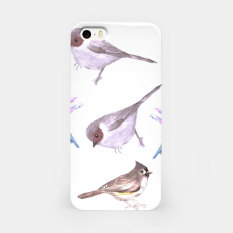 Miniatur American bushtits, hummingbirds and tufted titmouse watercolor  iPhone Case, Live Heroes