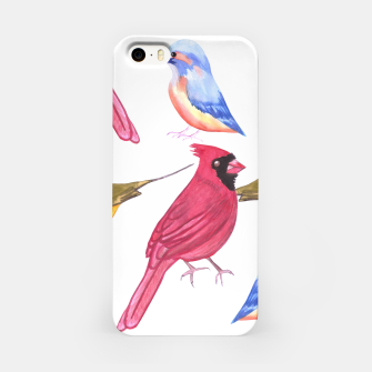 Imagen en miniatura de Watercolor Birds in triad color scheme- red, yellow, blue iPhone Case, Live Heroes