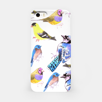 Miniatur watercolor birds in tetrad color scheme iPhone Case, Live Heroes