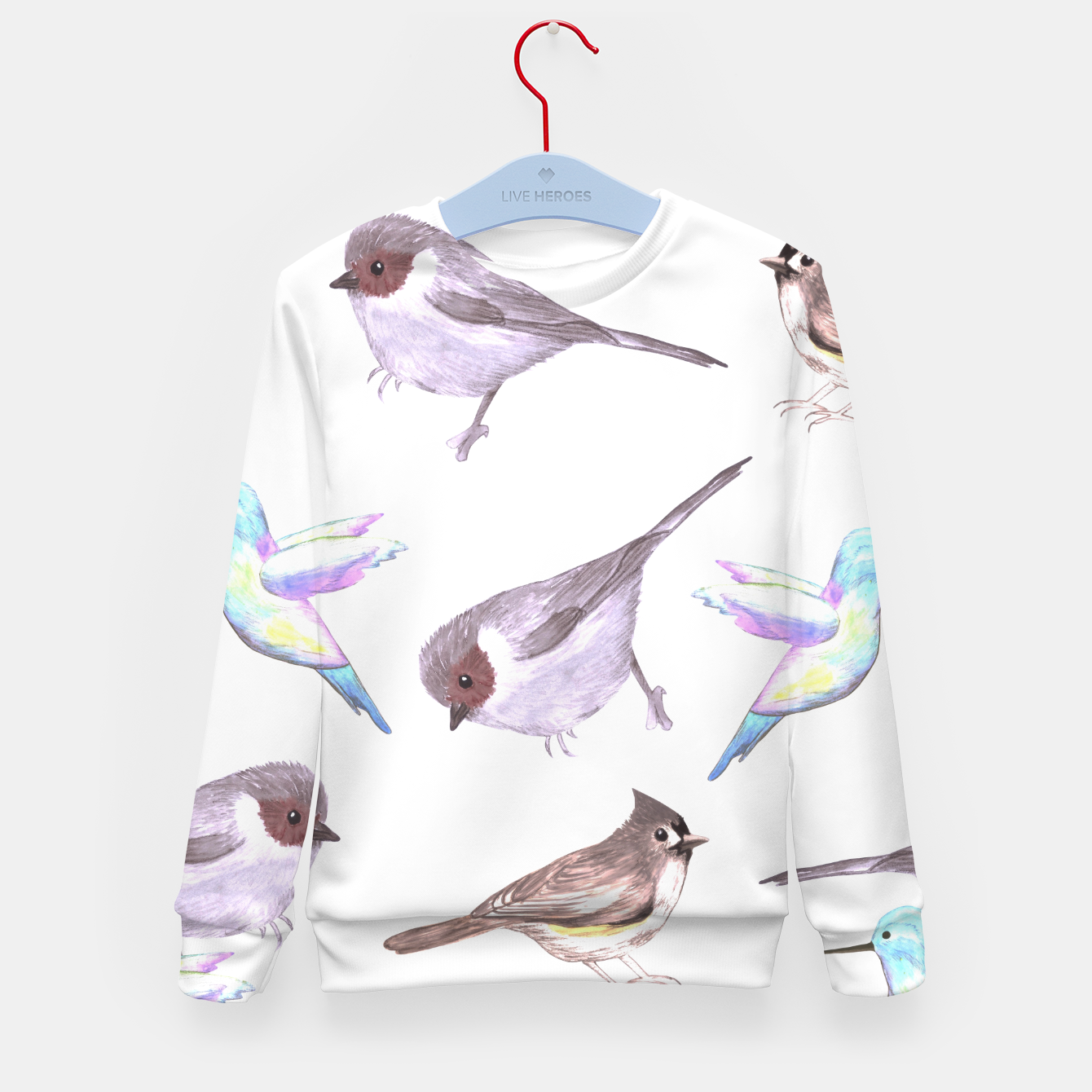 Foto American bushtits, hummingbirds and tufted titmouse watercolor  Kid's sweater - Live Heroes