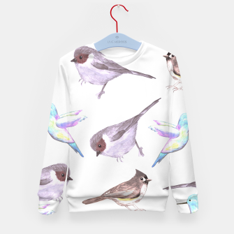 Miniatur American bushtits, hummingbirds and tufted titmouse watercolor  Kid's sweater, Live Heroes