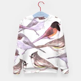 Imagen en miniatura de Wild titmouses bushtits and juncos in watercolor Kid's sweater, Live Heroes