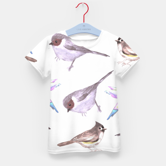 Miniatur American bushtits, hummingbirds and tufted titmouse watercolor  Kid's t-shirt, Live Heroes