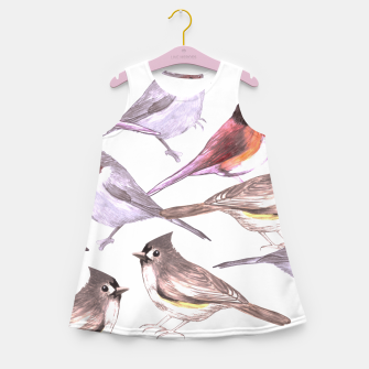 Thumbnail image of Wild titmouses bushtits and juncos in watercolor Girl's summer dress, Live Heroes