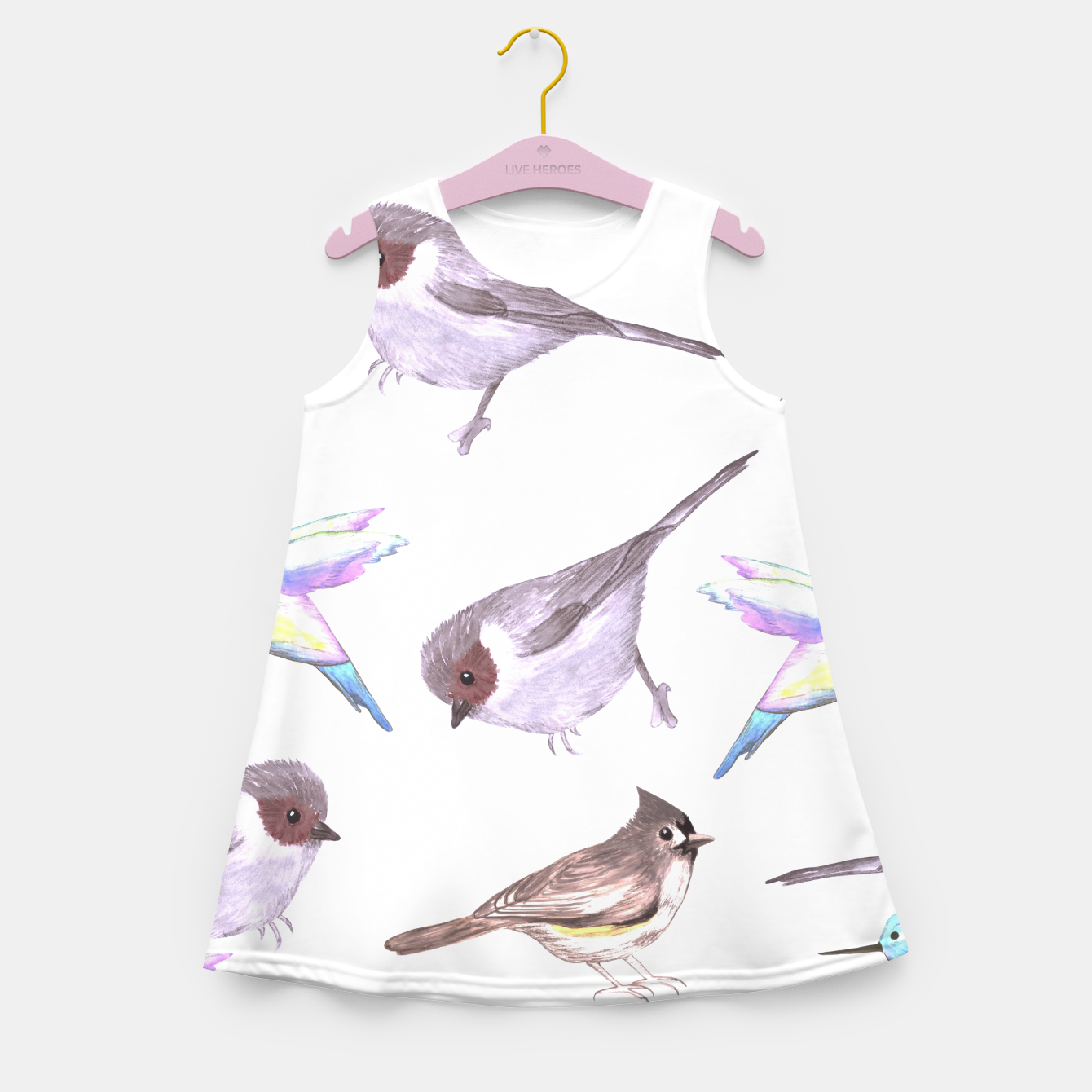 Image of American bushtits, hummingbirds and tufted titmouse watercolor  Girl's summer dress - Live Heroes