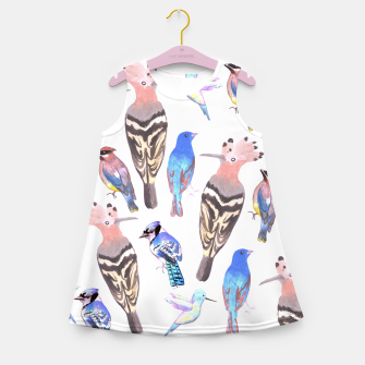 Thumbnail image of watercolor birds in tetrad color scheme Girl's summer dress, Live Heroes