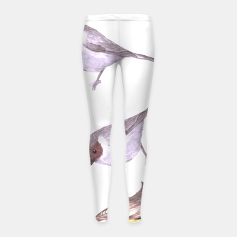 Miniatur American bushtits, hummingbirds and tufted titmouse watercolor  Girl's leggings, Live Heroes