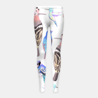 Thumbnail image of watercolor birds in tetrad color scheme Girl's leggings, Live Heroes