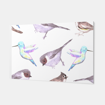 Miniatur American bushtits, hummingbirds and tufted titmouse watercolor  Canvas, Live Heroes