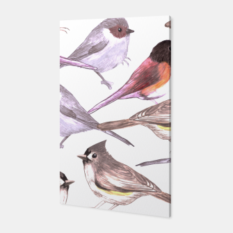 Miniatur Wild titmouses bushtits and juncos in watercolor Canvas, Live Heroes