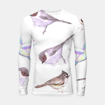 Miniatur American bushtits, hummingbirds and tufted titmouse watercolor  Longsleeve rashguard , Live Heroes