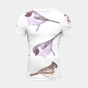 Miniatur American bushtits, hummingbirds and tufted titmouse watercolor  Shortsleeve rashguard, Live Heroes