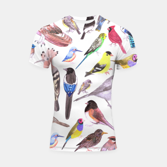 Thumbnail image of Birds of America- pets and wild birds  Shortsleeve rashguard, Live Heroes