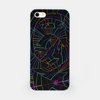 Miniatur Dark Black Abstract Neon Lines (LH005) iPhone Case, Live Heroes