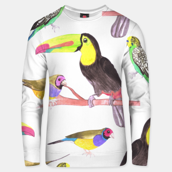 Thumbnail image of Colorful pet birds perched on a branch Unisex sweater, Live Heroes