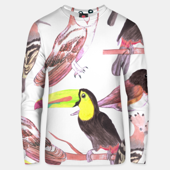 Thumbnail image of Large birds watercolor- toucans, juncos, hoopoe and barn owl Unisex sweater, Live Heroes