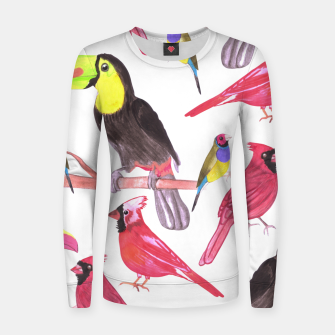 Imagen en miniatura de watercolor birds in tetrad color scheme watercolor-green, yellow, red, blue Women sweater, Live Heroes