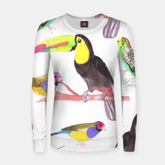 Imagen en miniatura de Colorful pet birds perched on a branch Women sweater, Live Heroes