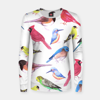 Imagen en miniatura de Colorful watercolor birds background in tetrad color scheme Women sweater, Live Heroes