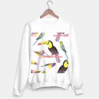 Thumbnail image of Colorful pet birds perched on a branch Sweater regular, Live Heroes
