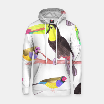 Thumbnail image of Colorful pet birds perched on a branch Hoodie, Live Heroes