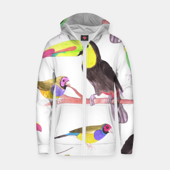 Miniatur Colorful pet birds perched on a branch Zip up hoodie, Live Heroes