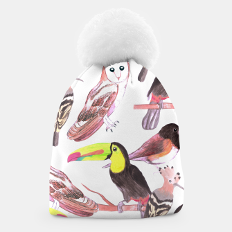 Thumbnail image of Large birds watercolor- toucans, juncos, hoopoe and barn owl Beanie, Live Heroes