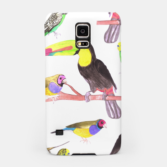 Thumbnail image of Colorful pet birds perched on a branch Samsung Case, Live Heroes