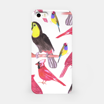 Miniatur watercolor birds in tetrad color scheme watercolor-green, yellow, red, blue iPhone Case, Live Heroes