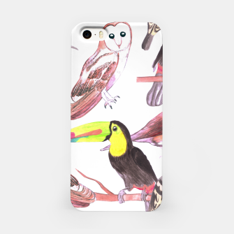 Miniatur Large birds watercolor- toucans, juncos, hoopoe and barn owl iPhone Case, Live Heroes