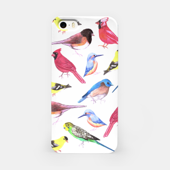 Miniatur Colorful watercolor birds background in tetrad color scheme iPhone Case, Live Heroes
