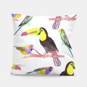 Thumbnail image of Colorful pet birds perched on a branch Pillow, Live Heroes
