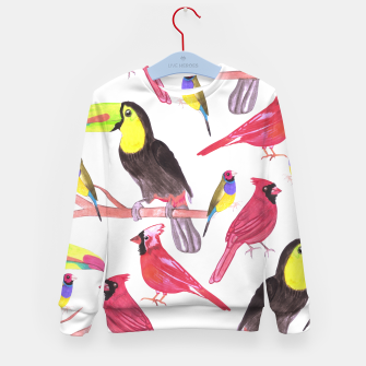 Imagen en miniatura de watercolor birds in tetrad color scheme watercolor-green, yellow, red, blue Kid's sweater, Live Heroes