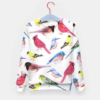 Imagen en miniatura de Colorful watercolor birds background in tetrad color scheme Kid's sweater, Live Heroes