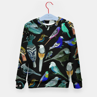 Birds of America- pets and wild birds  Kid's sweater Bild der Miniatur