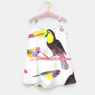 Miniatur Colorful pet birds perched on a branch Girl's dress, Live Heroes