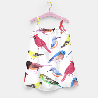 Miniatur Colorful watercolor birds background in tetrad color scheme Girl's dress, Live Heroes