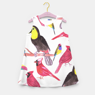 Miniatur watercolor birds in tetrad color scheme watercolor-green, yellow, red, blue Girl's summer dress, Live Heroes
