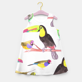 Miniatur Colorful pet birds perched on a branch Girl's summer dress, Live Heroes