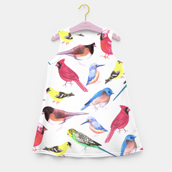 Miniatur Colorful watercolor birds background in tetrad color scheme Girl's summer dress, Live Heroes
