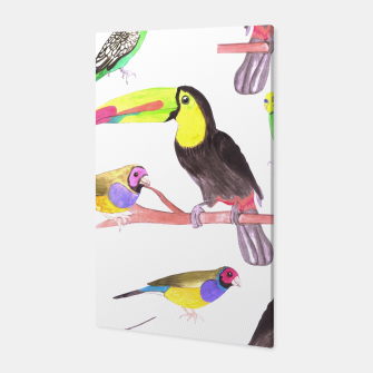 Thumbnail image of Colorful pet birds perched on a branch Canvas, Live Heroes