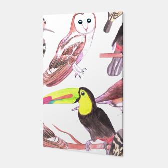 Thumbnail image of Large birds watercolor- toucans, juncos, hoopoe and barn owl Canvas, Live Heroes