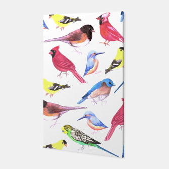 Thumbnail image of Colorful watercolor birds background in tetrad color scheme Canvas, Live Heroes