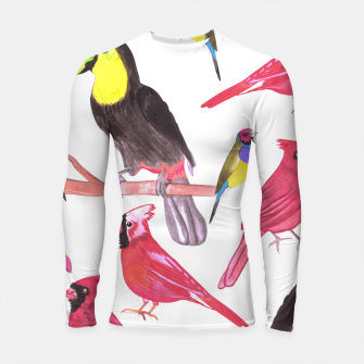 Thumbnail image of watercolor birds in tetrad color scheme watercolor-green, yellow, red, blue Longsleeve rashguard , Live Heroes