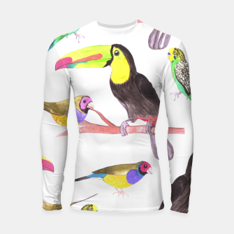 Thumbnail image of Colorful pet birds perched on a branch Longsleeve rashguard , Live Heroes