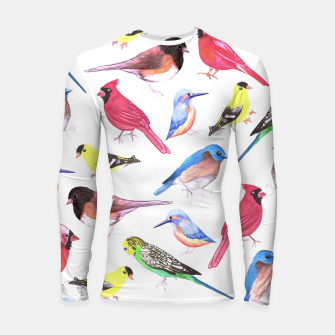 Thumbnail image of Colorful watercolor birds background in tetrad color scheme Longsleeve rashguard , Live Heroes