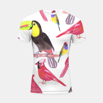 Thumbnail image of watercolor birds in tetrad color scheme watercolor-green, yellow, red, blue Shortsleeve rashguard, Live Heroes