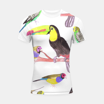 Thumbnail image of Colorful pet birds perched on a branch Shortsleeve rashguard, Live Heroes