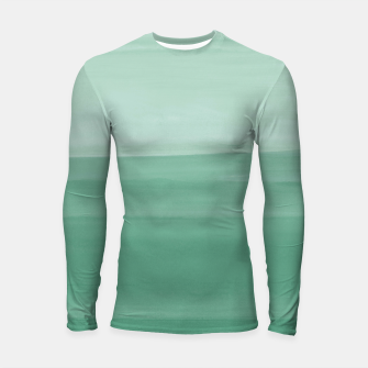 Thumbnail image of Touching Green Watercolor Abstract #1 #painting #decor #art Longsleeve rashguard, Live Heroes