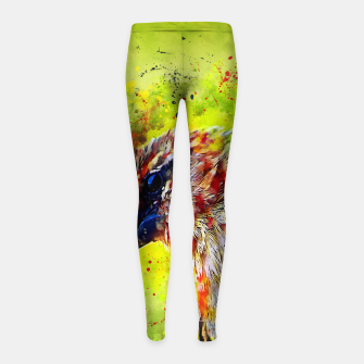 Thumbnail image of spotted madagascar fody wsstd Girl's leggings, Live Heroes